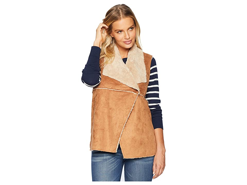 Dylan by True Grit Light Vintage Washed Sherpa Madison Vest (Saddle/Oatmeal) Women