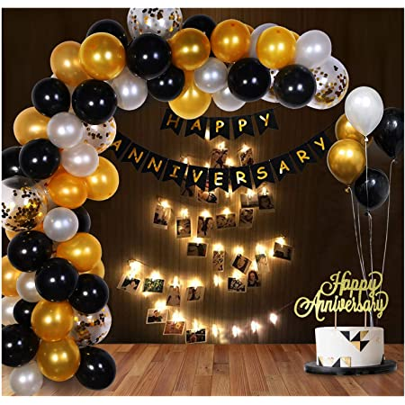 Party Propz Happy Anniversary Star Decoration Items With LED Photo Banner, Cake Topper, Balloons,, Glue Dot 73 Pcs Set
