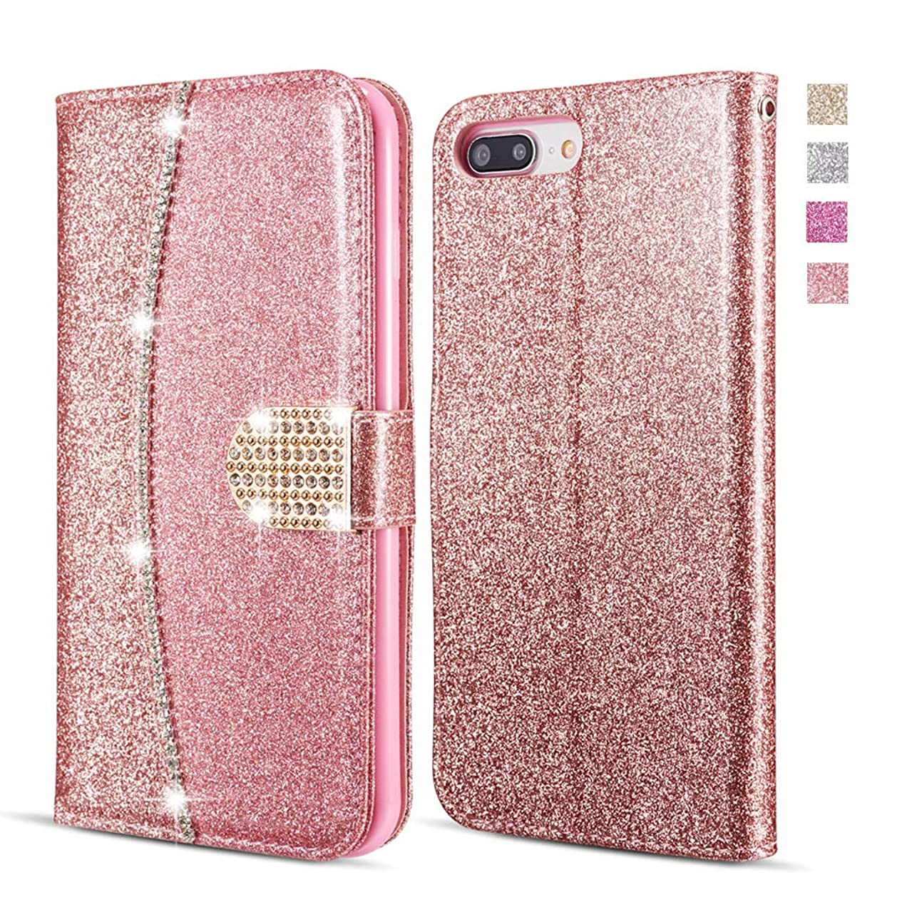 UEEBAI Wallet Flip Case for Sony Xperia XA, Premium Glitter Glossy PU Leather Case with Diamond Buckle [Card Slots] [Magnetic Clasp] Stand Function Rhinestone Strap Handbag TPU Cover - Rose Gold