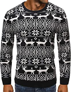 Soluo Men's Reindeer Snowman Santa Snowflakes Sweater Ugly Xmas Holiday Crewneck Pullover Christmas Funny Pullover