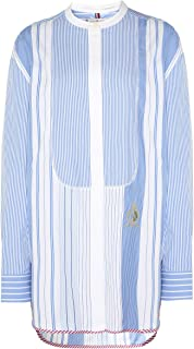 TOMMY HILFIGER Women's Patchwork Stripe Oversized Fit Shirt, Ultramarine/Patch Work Multi