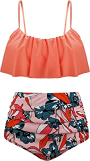 Aixy Women Vintage Flounce Two Piece Swimsuits High Waisted Bathing Suits