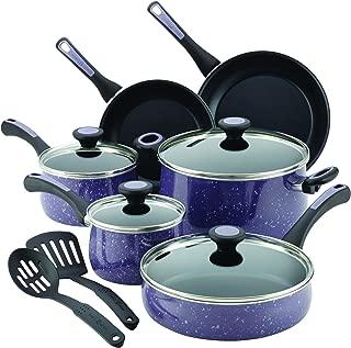 Paula Deen Riverbend Aluminum Nonstick Cookware Set, 12-Piece, Lavender Speckle