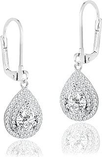 Robert Matthew Ella 18k White Gold Dangle Earrings, Dangling Halo Earrings for Women, Silver Cubic ZIrconia Teardrop Halo Earrings, CZ Tear Drop Earrings - MSRP - $94