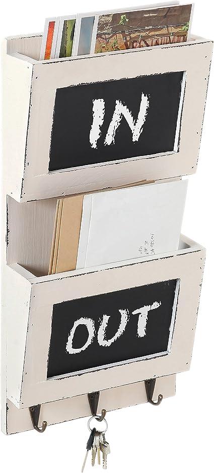 Slot Whitewashed Wood Mail Sorter with Chalkboard /& 3 Metal Key Hooks MyGift 2