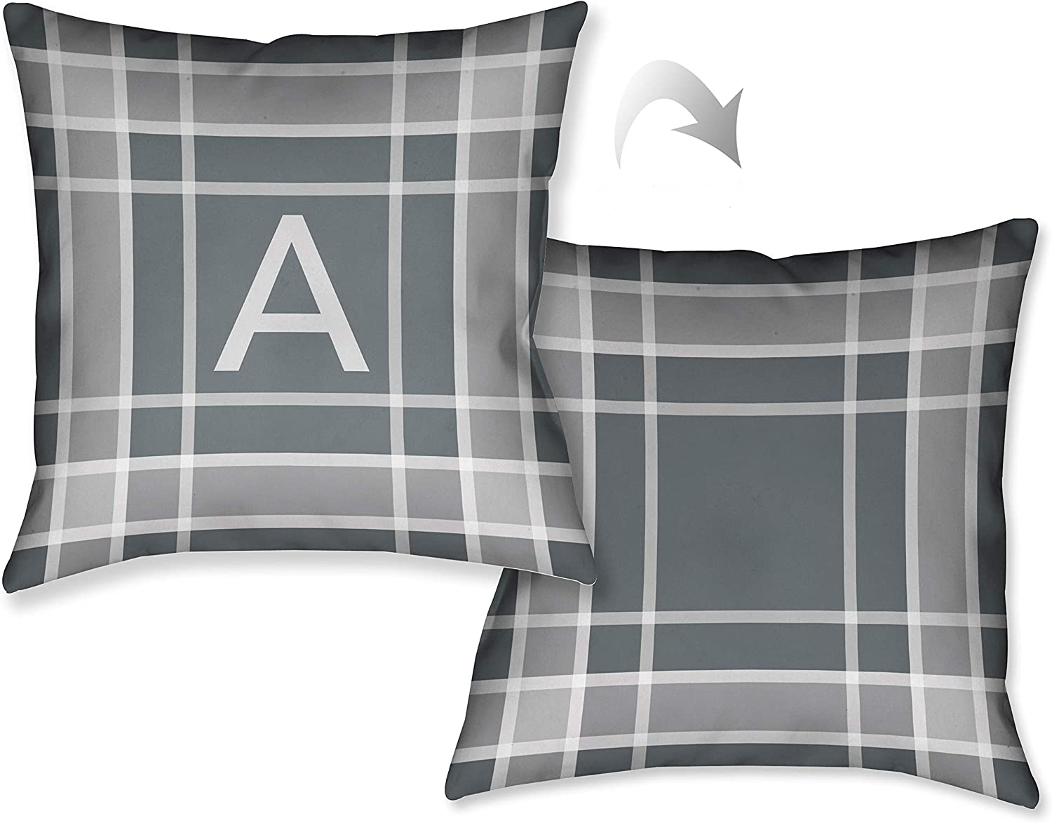 2021 autumn and winter new Laural Home Plaid Grey Monogram Decorative 18 Throw sale inch Pillow
