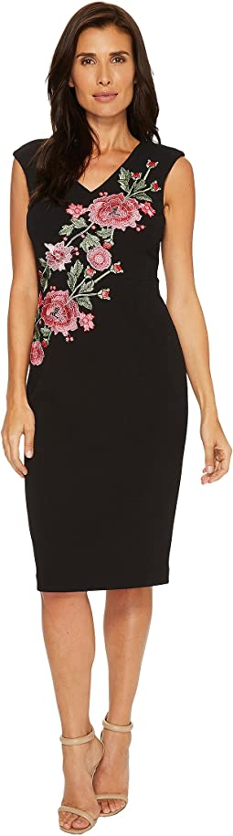 Ivanka Trump - Compression Dress with Embroidered Flowers
