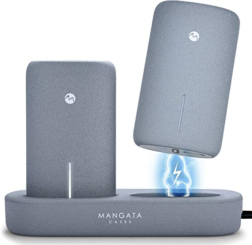 Mangata Orbit [Cordless Power Bank Charging Dock] for Home & Office | 2-Pack 5000 mAh Fast Charge Battery, UL-2056 Ce...