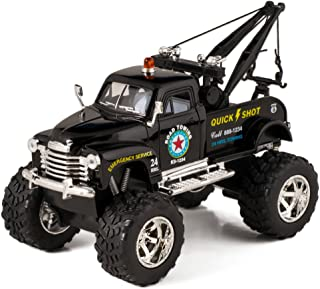 Black 1953 Chevy Off-Road Wrecker Die Cast Tow Truck Toy with Monster Wheels