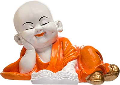 Karigaari India Handcrafted Baby Laughing Buddha Reading Book Showpiece for Home Decor