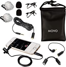 Movo Ultimate Lavalier Lapel Mic Podcast Microphone Kit Compatible with iPhone, Android Smartphones Includes 20-Foot Extension Cable, DSLR Camera Adapter, GoPro Adapter, and More - Podcast Equipment