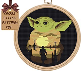 Cross stitch patterns baby Yoda pdf, modern counted simple cross stitch sampler design easy for beginners cross stitch chart, home wall decor DIY