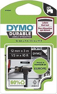 DYMO D1 Durable Label Cassette Tape, 12mm x 3m, White/Black