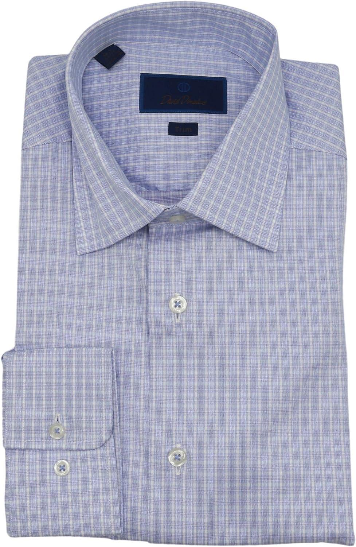 David Donahue Men's Blue/White Trim Fit Checked Dress Shirt - 35-18 (DXL)