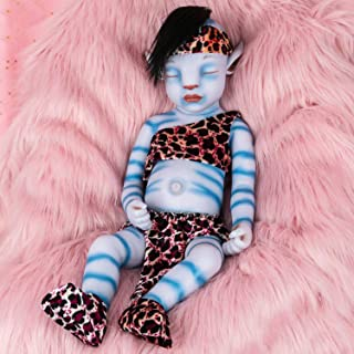 Vollence 20 Inch Avatar Eye Closed Full Silicone Baby Doll ,Not Vinyl Material Dolls,Real Full Body Silicone Reborn Baby Doll, Handmade Lifelike Newborn Baby Doll - Boy