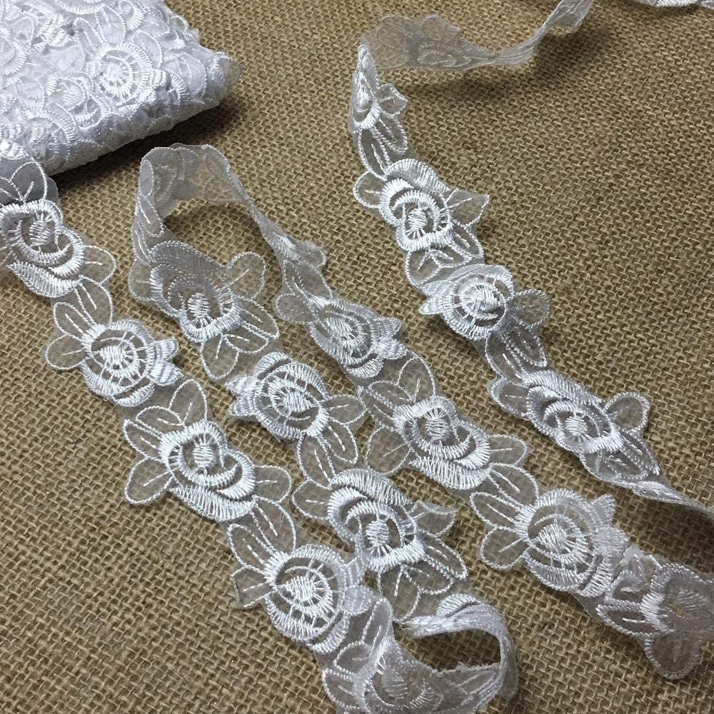 Lace Trim Rose Flower Embroidered Sheer Organza, 1.5