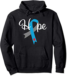 Type 1 Diabetes Hoodie Hope Blue Grey Awareness Ribbon Pullover Hoodie