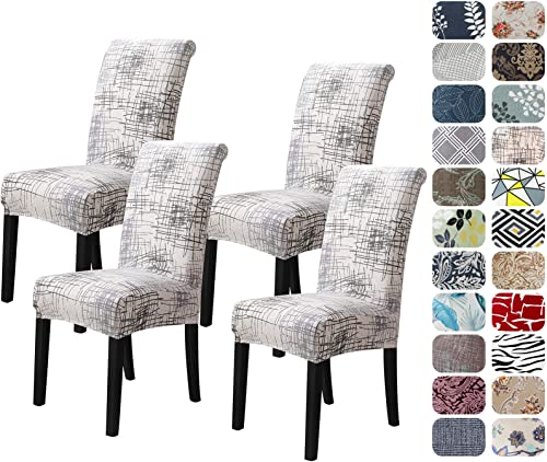 Howhic Chair Covers for Dining Room with Printed Patterns, Easy Slip-on Stretchy Dining Room Chair Covers Set of 4, W...