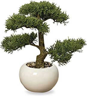 WHW Whole House Worlds Realistic Faux Cedar Bonsai Tree, Houseplant, White Round Pot, Pebbles, Padded Bottom, Over 1 Ft Tall, (H33cm)