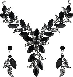 BriLove Women's Wedding Bridal Crystal Marquise-Shape Leaf Flower Enamel Statement Necklace Dangle Earrings Set