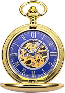 TREEWETO Pocket Watch - Smooth Double Case Series Skeleton Dial Delicate Mechanical Movement with Chain, Gold/Silver