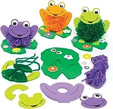 Baker Ross Kit de Pompones de Rana y nenúfar para Que los niños decoren - Kit de Manualidades Creativas primaverales para niños (Pack de 4).