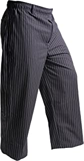 Mercer Culinary M60030BFPL Millennia Men's Black Cook Pants with White Fine Pinstripe, Large
