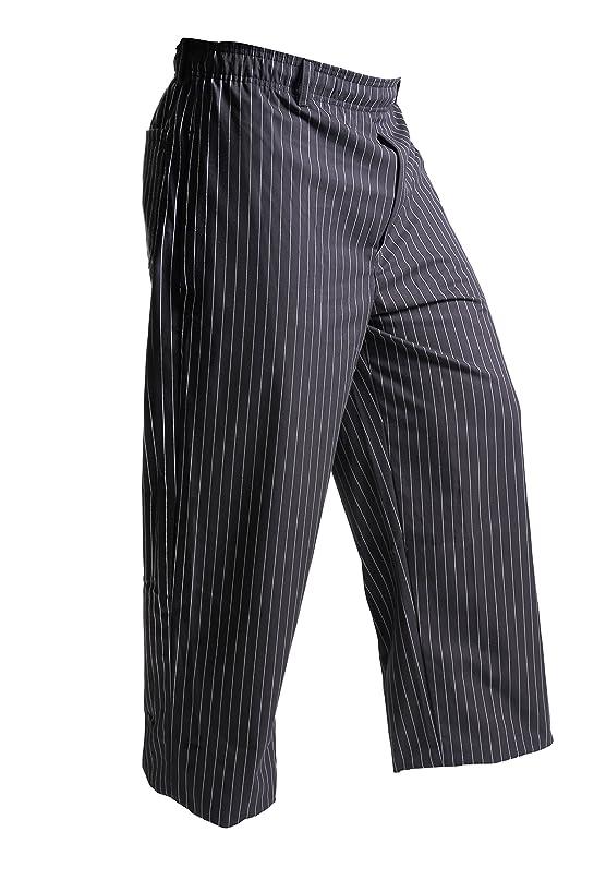 Mercer Culinary M60030BFPM Millennia Men's Black Cook Pants with White Fine Pinstripe, Medium