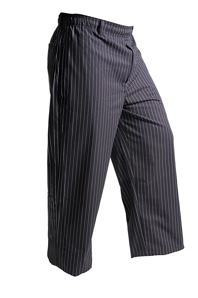 Mercer Culinary M60030BFPM Millennia Men's Black Cook Pants with White Fine Pinstripe, Medium