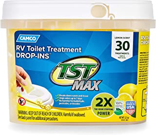 Camco 41577 30 Pack Strength TST Ultra-Concentrated Lemon Citrus Scent RV Toilet Max Treatment Drop-Ins, Formaldehyde Free, Breaks Down Waste and Tissue, Septic Tank Safe