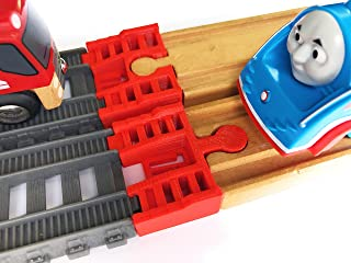 TrainLab Track Adapters Compatible with Trackmaster (2014+) to Wooden Railway Train Tracks (2pc) (Red)