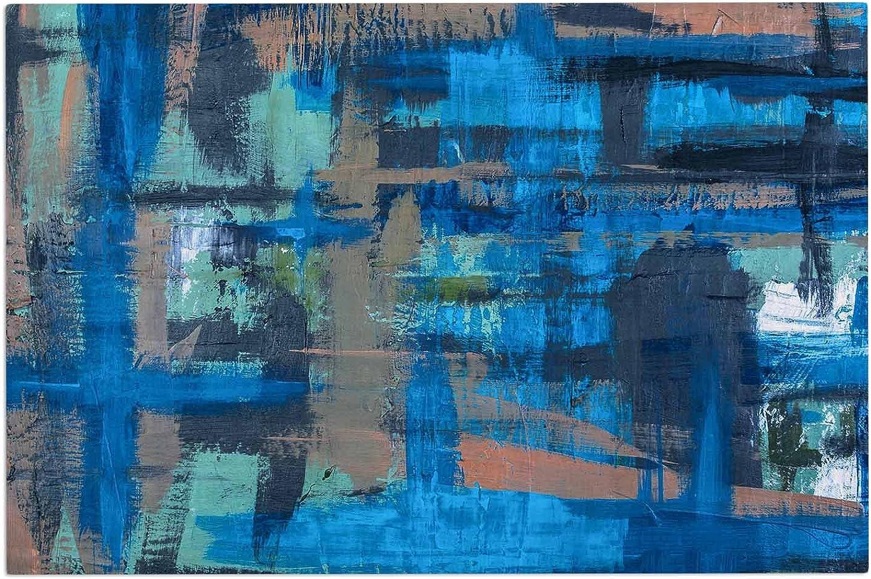 KESS InHouse Bruce Stanfield Hyper bluee Beige Painting Decorative Door, 2' x 3' Floor Mat