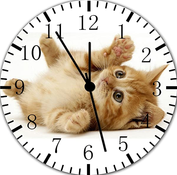 Borderless Cut Kitten Cat Frameless Wall Clock E306 Nice For Decor Or Gifts