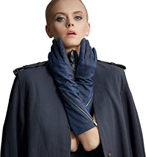 Fioretto Womens Genuine Long Leather Gloves Warm Characteristic Italian Goatskin For Driving