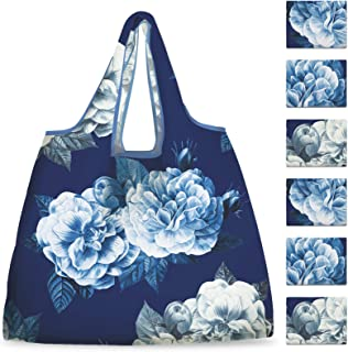 NymphFable 6 Pack Grocery Bags Reusable Peony Flowers Shopping Bags Washable Foldable Waterproof Eco Friendly 50LBS