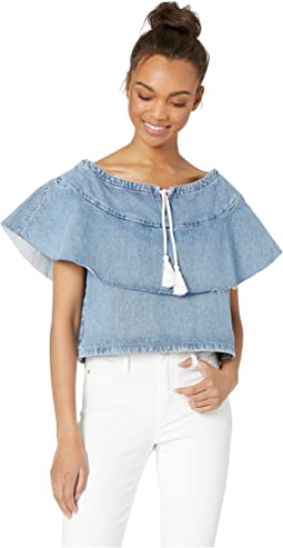 Made & Crafted Denim Ruffle Top