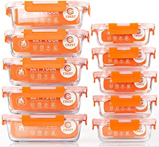 CREST Lot de 10 Récipient en Verre - 1040 ML + 370 ML Boîtes Alimentaires - Contenants de Stockage de Repas en Verre, sans...