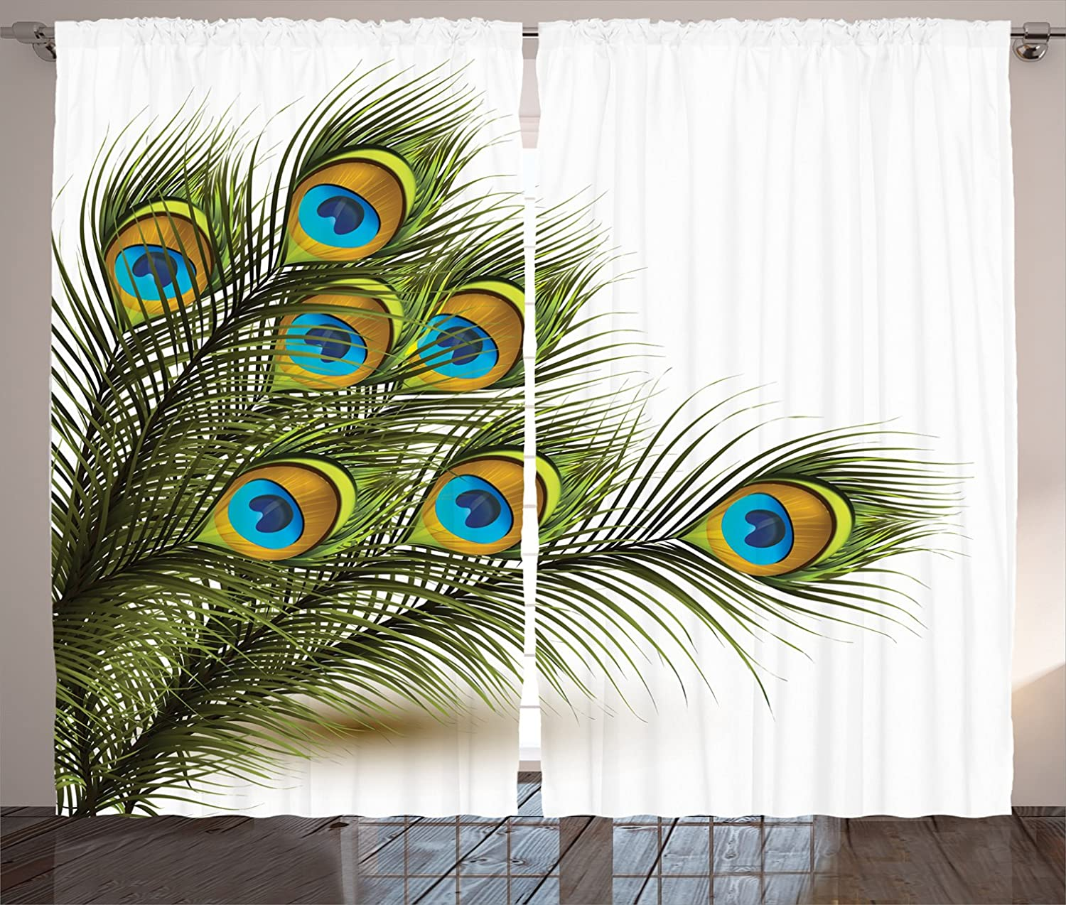 Bargain Large-scale sale Ambesonne Peacock Curtains Vivid Ferns Feathers Mystica