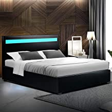 Double Bed Frame, Artiss Leather Upholstered Bed Frame Base with Gas Lift Storage and LED Headboard, Black