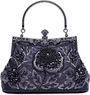 8f842f7fb8 VENI MASEE collection antique floral rocaille/perle/Sequin doux embrayage  sac de soirée,