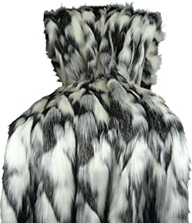 Thomas Collection Gray Black White Faux Fur Throw Blanket & Bedspread - Tibet Fox Fur - Gray Black White Luxury Faux Fur - Soft Faux Fur Blanket, Made in USA, 16438
