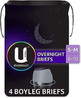 U by Kotex Overnight Briefs, Grey, S/M Sizes 6-10, 4 Count