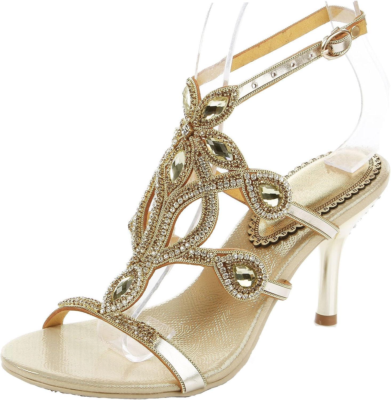 LizForm Fabulous Caged Evening Heeled Sandal Cutouts Leather Wedding Party Sandal Heels