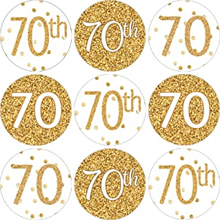 70th Birthday Party Favor Stickers - White and Gold - 180 Count