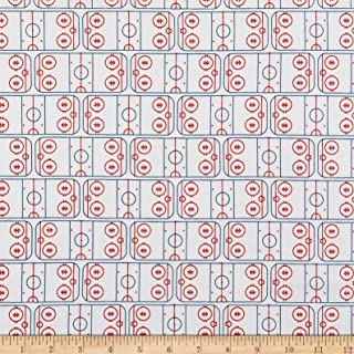 Riley Blake Designs Varsity Hockey Field Fabric, Off White, Fabric By The Yard