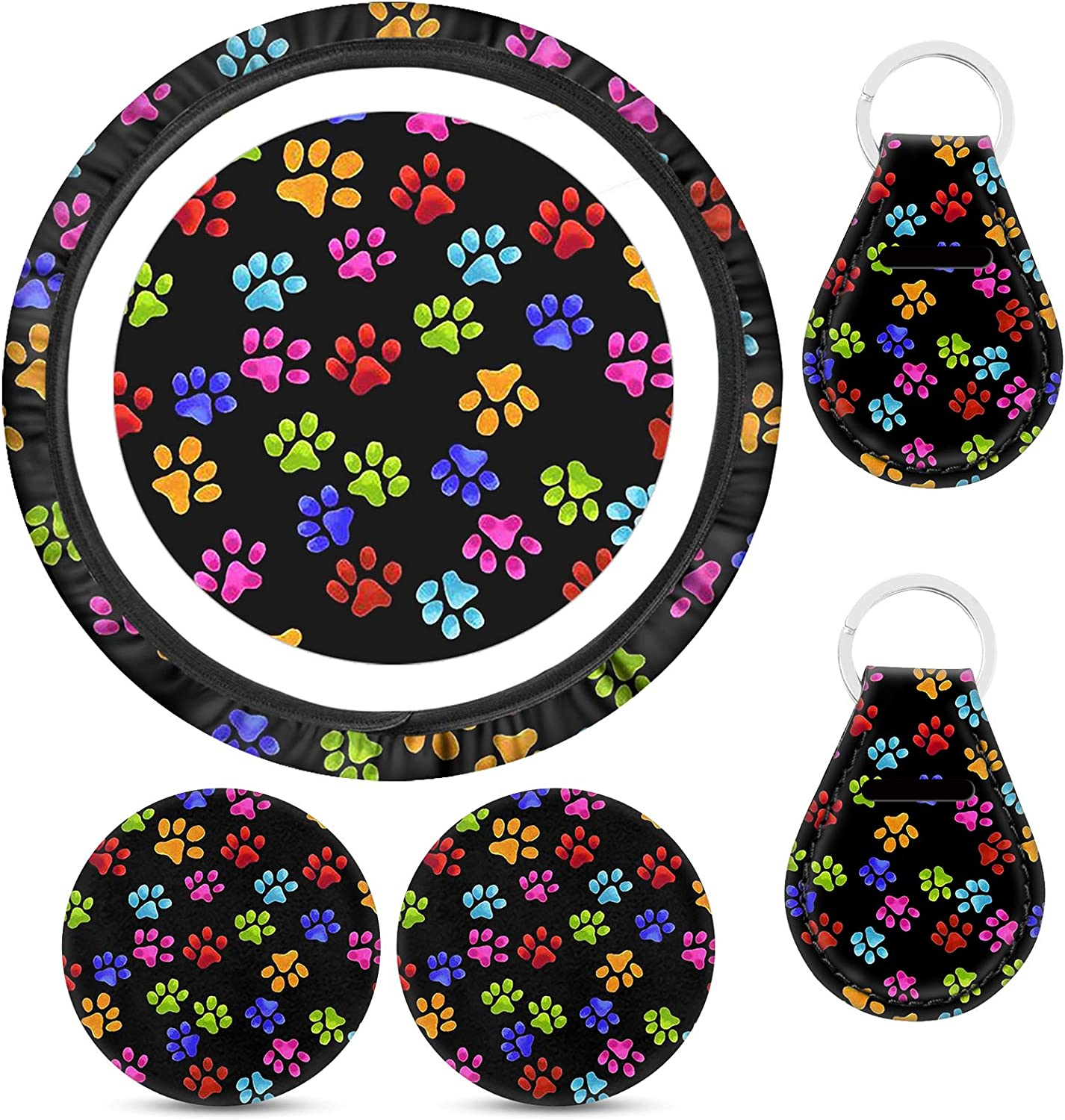 WELLFLYHOM Cute Steering Wheel Cover with Baltimore Mall Paw Car Virginia Beach Mall Dog Print Acce