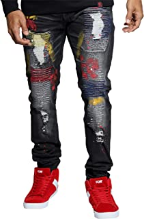 Men's Ripped & Repair Colorful Embroidered Jean - Black
