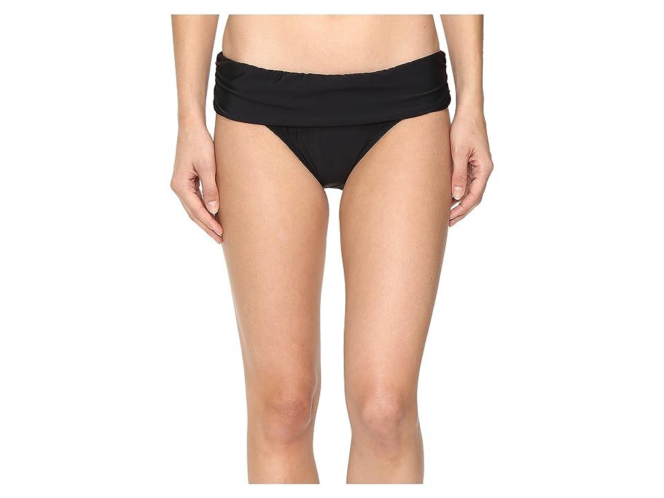 Athena Cabana Solids Lani Banded Bikini Bottom (Black) Women