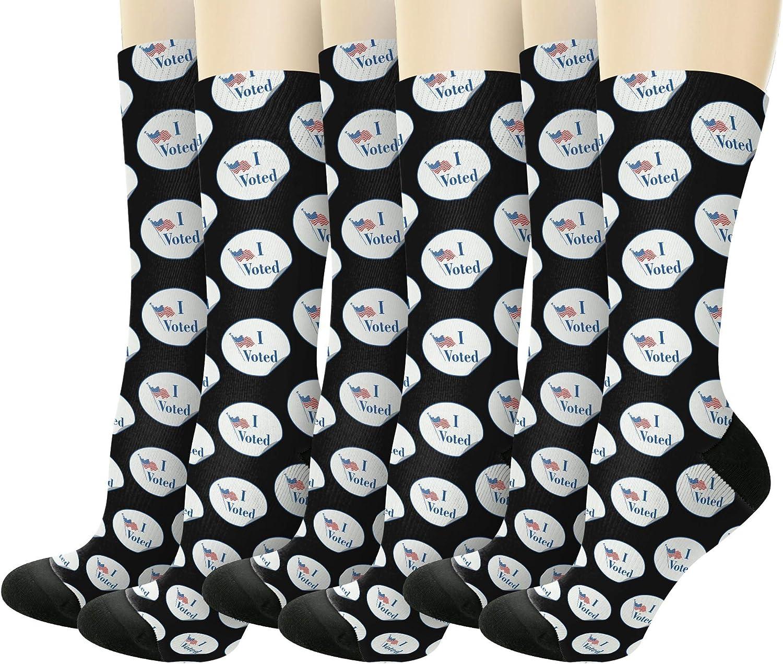 Vote 2020 I Voted Sticker Novelty Crew Socks