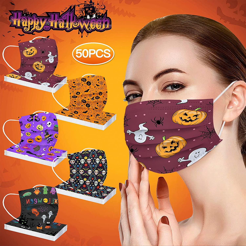 Halloween Masks-Adult Halloween Printed Three-Layer Outdoor Brea